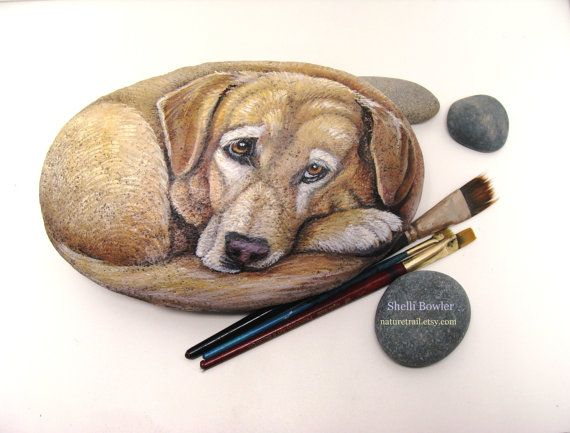 Etsy listing at https://www.etsy.com/listing/166110182/custom-pet-portrait-on-a-stone-6-in