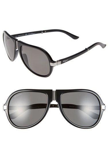 Salvatore Ferragamo 54mm Polarized Foldable Aviator Sunglasses available at #Nordstrom