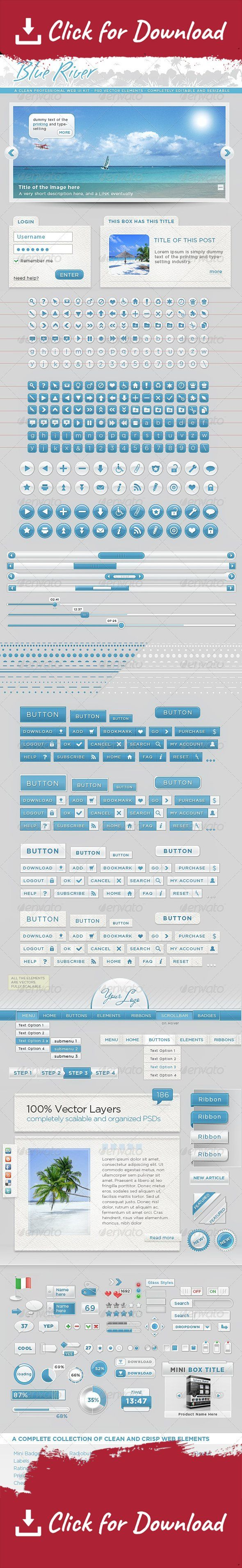 badges, banners, blue, boxes, clean, collection, corner ribbons, crisp, digital, dividers, forms, interface, labels, mini web elements, minimal, modern, navigation bars, paper, radiobuttons, ribbons, sleek, sliders, tables, tooltip, web 2.0, web shadow box, white One of the most complete Professional Graphic User Interface on Graphicriver Web Pack – Kit of graphics Elements – Layered Photoshop CS Psd This Item contains more than 3500 sleek and clean web elements, incredibily useful duri...