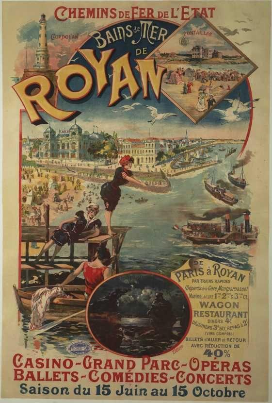 Bains de mer de Royan - illustration de Tamagno - France -