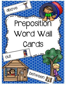 """A word wall with position/preposition cards. The cards are sized 2.61"""" in height and 7.46"""" in width. The cards…"""