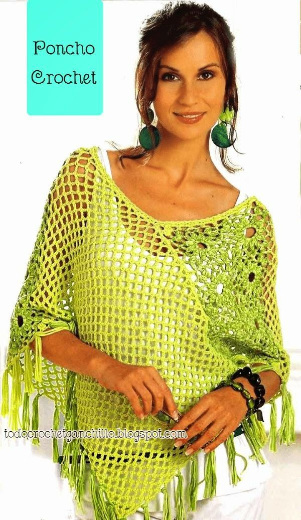 Poncho for inspiration. There is a pattern but it's in Spanish (I think). Not sure I understand how to read the chart