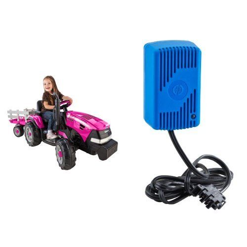 Peg Perego Case IH Magnum Pink Tractor Ride On with Trailer and 12 Volt Quick Charger Bundle...