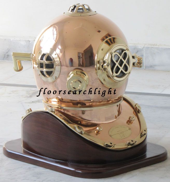 MARITIME COLLECTIBLE NAUTICAL BRASS & COPPER DIVERS DIVING HELMET W/ WOODEN BASE