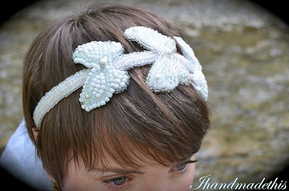 Beaded bridal headband white butterfly bead by Ihandmadethis
