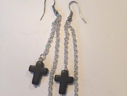 Cross & Bead Earrings