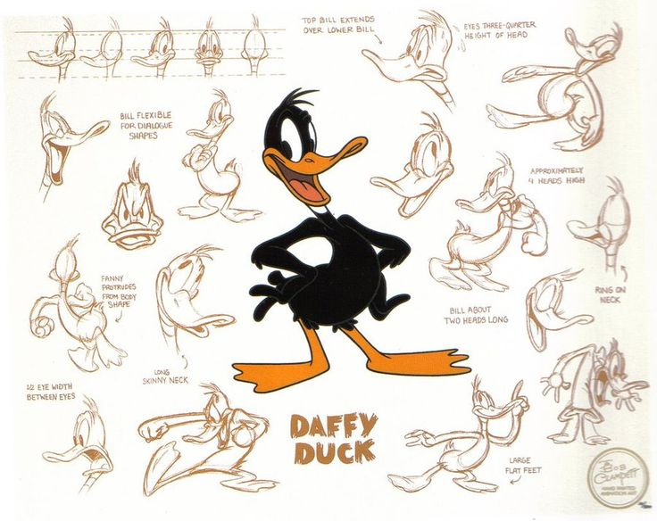 """Daffy's screwy character type, created by Tex Avery and Bob Clampett. Daffy was something new and audiences loved his unrestrained nature. It was Daffy's character that first put the looniness into Looney Tunes cartoons. He was an assertive, combative character that could not be contained. Clampett said, """"Audiences weren't accustomed to seeing a cartoon character do these things. So, when he hit the theaters it was an explosion. People would leave the theaters talking about this duck.""""…"""