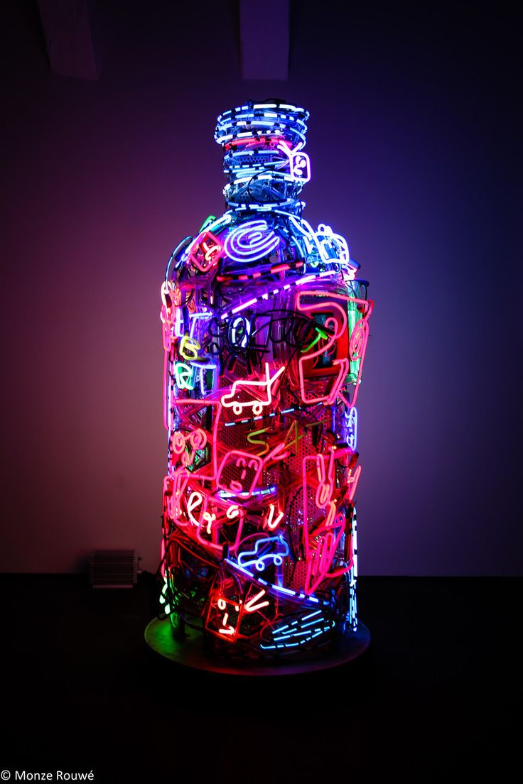 Neon by artist Nam June Paik at the Vodka Museum in Stockholm