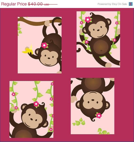 ON SALE 40% OFF Monkey Nursery Art for girl or boy, Set of Four  5x7 prints, great for nursery, or toddler room, or as a gift, boy/girl ver. $24.00, via Etsy.