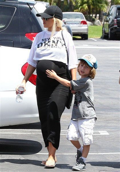 Christina Aguilera takes her son, Max Bratman, out to mini golf in Los Angeles on July 12, 2014.