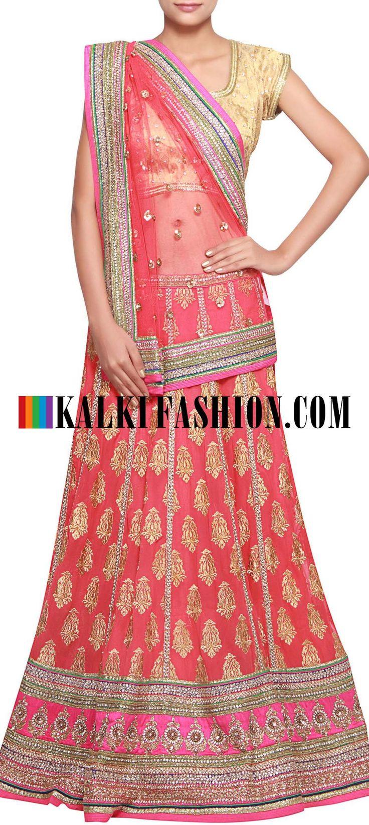 Get this beautiful lehenga here: http://www.kalkifashion.com/peach-lehenga-embellished-in-zari-embroidered-butti-only-on-kalki.html Free shipping worldwide.