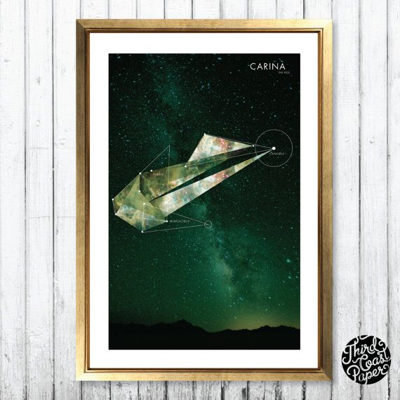 Carina Constellation Map Print 11x17 by thirdcoastpaper on Etsy
