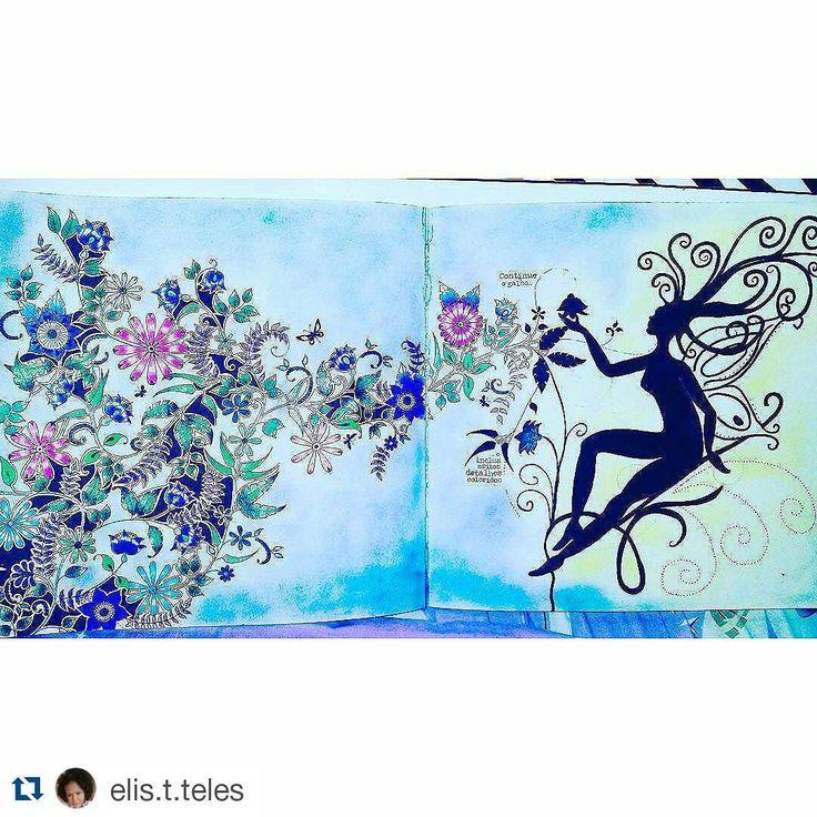 """Tem ninfa no jardim! #Repost @elis.t.teles with @repostapp ・・・#desenhoscolorir  #johannabasford #jardimsecreto  #secretgarden"""