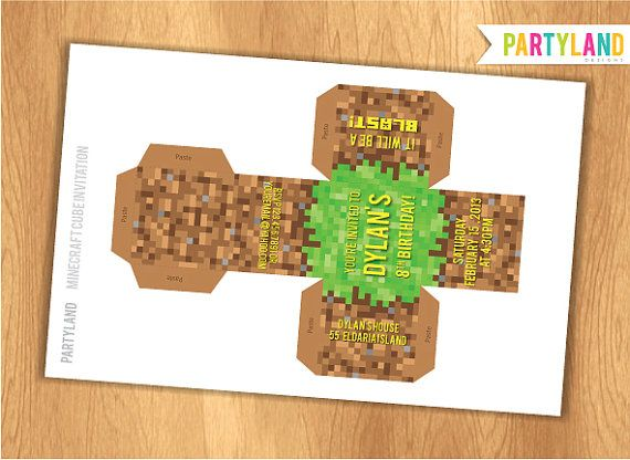 23 best minecraft pary images on pinterest birthday celebrations minecraft 3d printable cube party invitation diy by partylandshop 2500 solutioingenieria