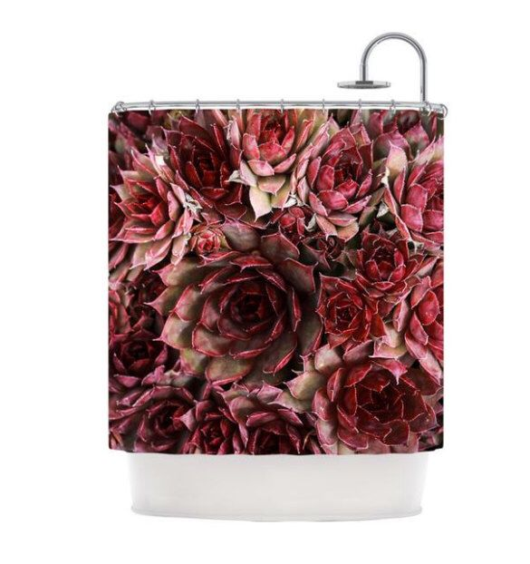 Shower Curtain, Red Succulent Cactus Shower Curtain, Maroon Red Southwestern Desert, Bathroom Decor, Bathroom Art, Cactus Art by DebbraObertanecArt on Etsy https://www.etsy.com/listing/386753912/shower-curtain-red-succulent-cactus
