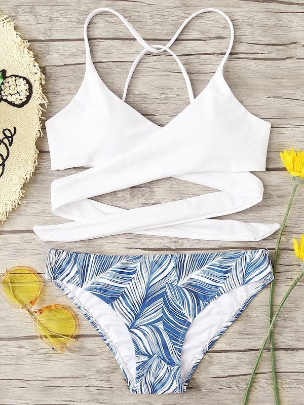 Plus Crisscross Mix Match Bikini Set Shein Sheinside Ropa De