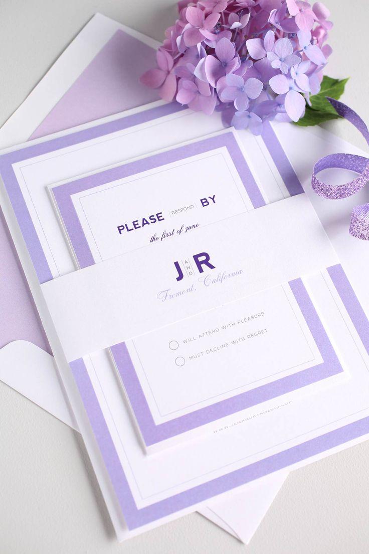 Modern Wedding Invitations In Purple