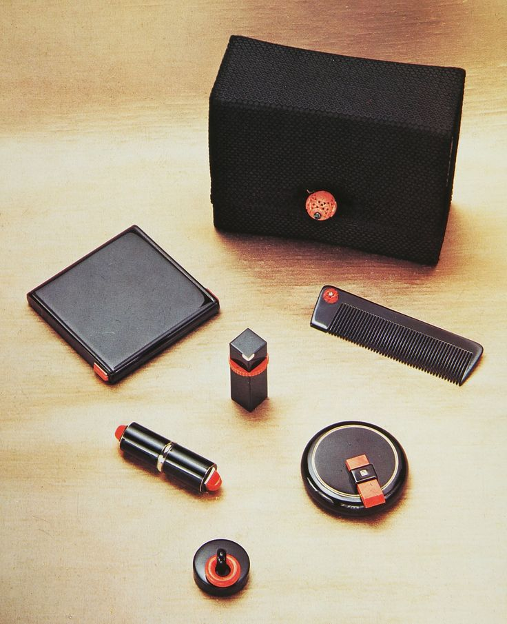 Cartier Paris 1934 Black Silk Sac de Soir with fitted black lacquer and coral accessories. Clive Kandel Collection.