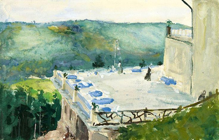 Max Slevogt  Landshut 1868 - 1932 Neukastel Terrasse Mit Reh Am Sommerberg-Hotel Bei Wildbad 1913