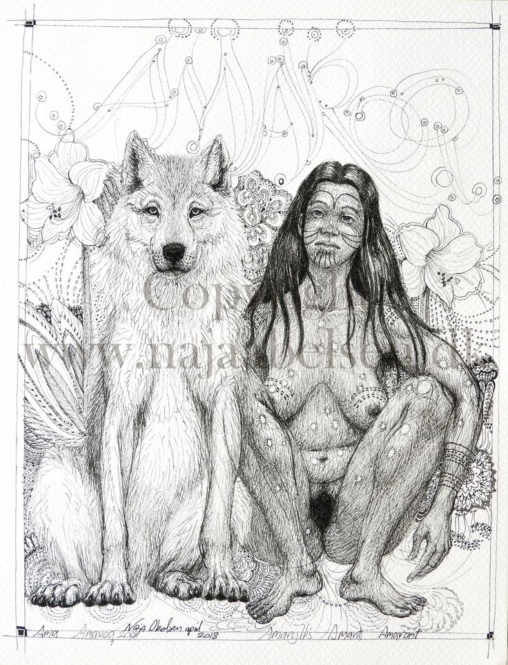 Amaroq 2018 (new version of the same motive from 2003) The wolf woman is an inuk, from the inuit, greenlandic people. Pigmentpen. 18 x 24 cm. 2018 By www.najaabelsen.dk