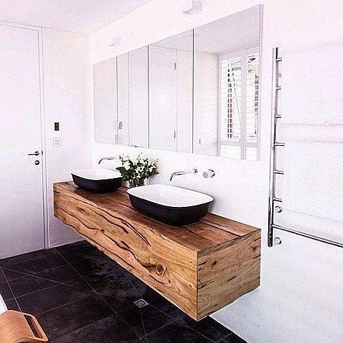 clean white shiplap and a fantastic tile floor #bathroom #
