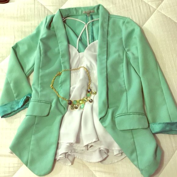 Mint green blazer This blazer is very fun and flattering. Looks great with dresses, slacks, and jeans. Perfect for spring Jackets & Coats Blazers