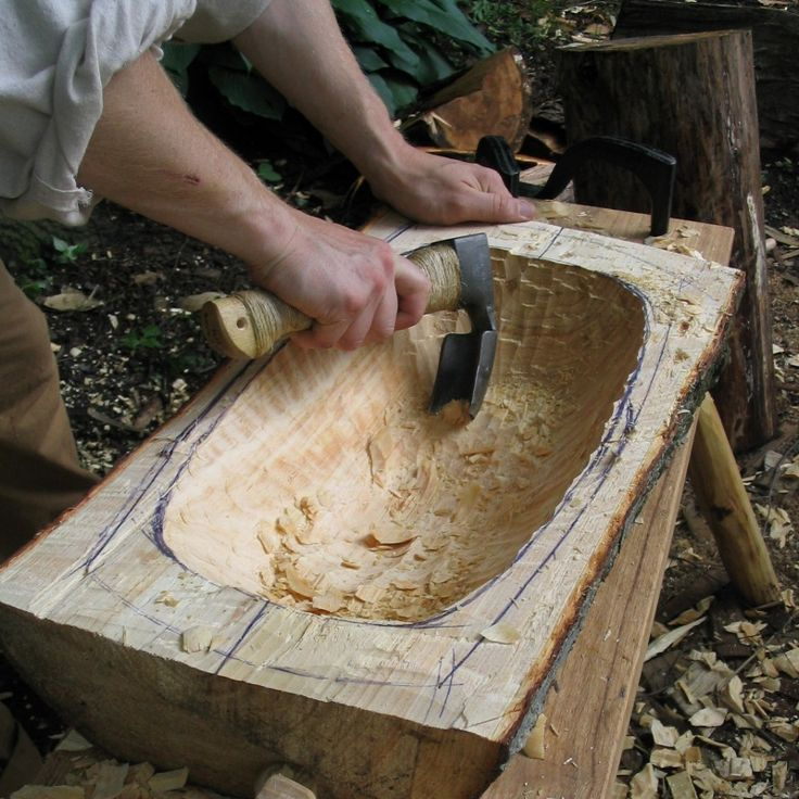 might be long and intense process, but wouldn't it be neat to (have your husband) carve bowls and spoons