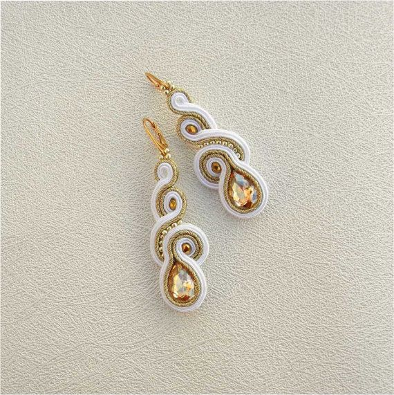 cool Soutache Earrings, bridesmaid gift, Gold White, Handmade Jewelry, White Earrings, Statement Earrings, Dangling Earrings, Bridal Earrings