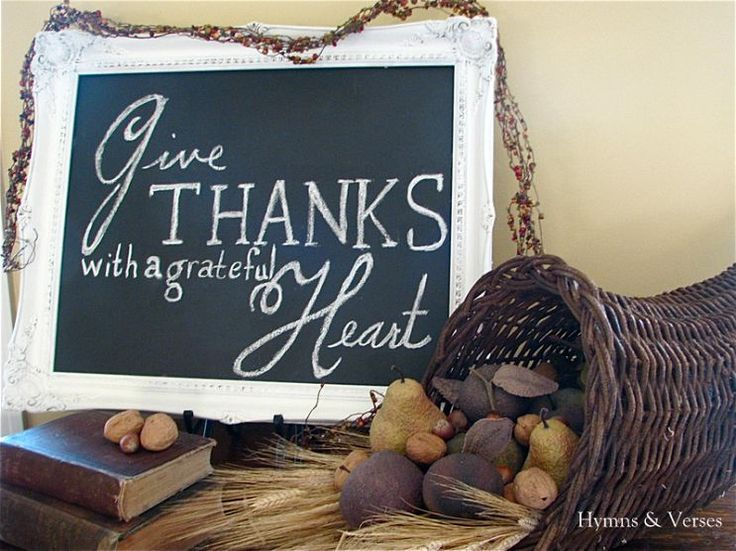 Fall Vignette - Give Thanks With a Grateful Heart