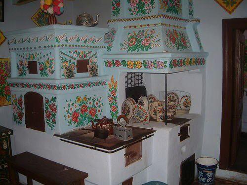 Hungarian traditional kitchen stove-furnance hagyomanyos konyha tuzhely-kemence so beautiful and keeping warm home for ever