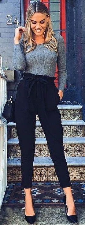 #summer #latest #trends |  Grey Knit + Black Pants                              …
