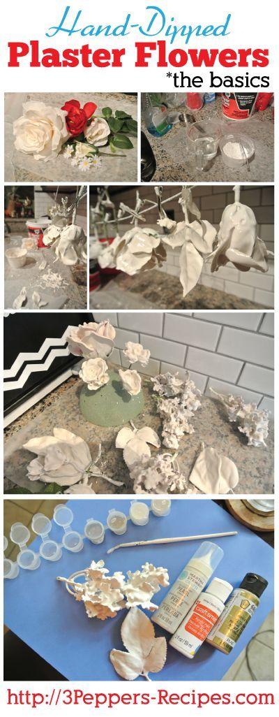 Dipped Plaster Flower Tutorial - 1 kg scagliola + 2 litri acqua + colla vinilica perchè non crepi asciugando. Se si vuole poi spray colorato o spray trasparente lucido