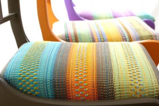 Colourful handwoven chair seats by Angie Parker