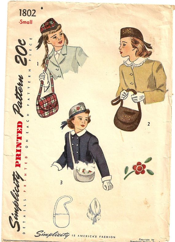 Vintage 40s Girls Scottish Hat and Bag Purse by PatternPriority