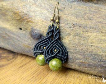 Opalite macrame earrings boho earrings micro by SelinofosArt