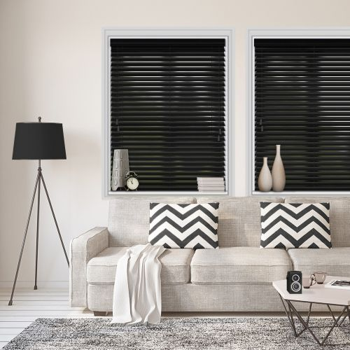 Black Gloss 50mm Wood Slat Blind