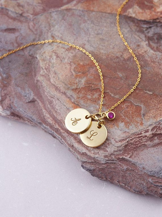 62fa67761 Initial Necklace With Birthstone - Custom Initial Necklace - Gold Initial  Necklace - Initial Charm N