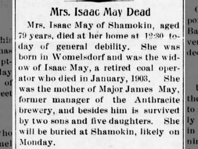 Mount Carmel Pa, newspaper of 4/29/1904