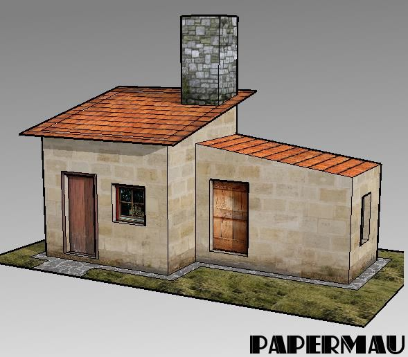 Charming Here Is More One Simple And Easy To Build Little House Paper Model , For  Dioramas, RPG And Wargames. This One Occupies Two Sheets Of Paper.