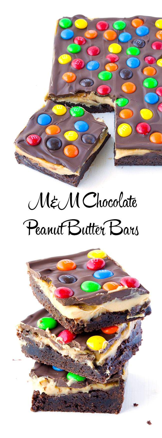 M&M Chocolate Peanut Butter Bars | via sweetestmenu.com
