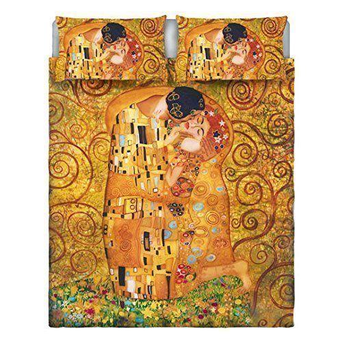 Copripiumino Matrimoniale stampa digitale GUSTAV KLIMT - IL BACIO + due federe coordinate idea regalo per San Valentino - Saint Valentine home in love: Amazon.it: Casa e cucina