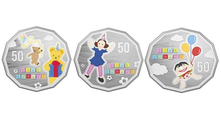 The Royal Australian Mint in Canberra has marked the 50th anniversary of the TV show Play School with specially designed 50 cent coins for collectors.  The coloured coins feature Play School favourites Jemima, Humpty Dumpty and Big and Little Ted.