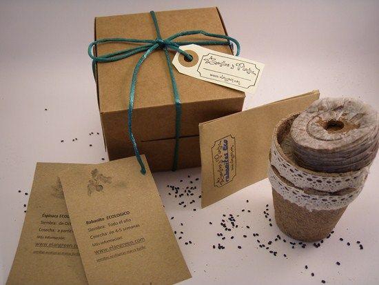 Caja con semillas, turba, macetas, tarjetas, #merchandising
