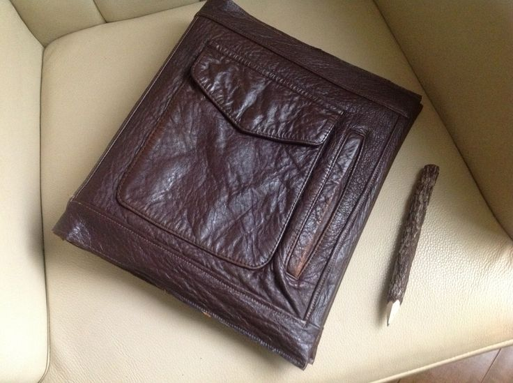 Brown Leather 3 ring Binder Cover made from recycled jackets