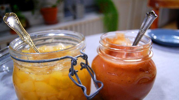 Marmelader av päron och ingefära samt av äppel