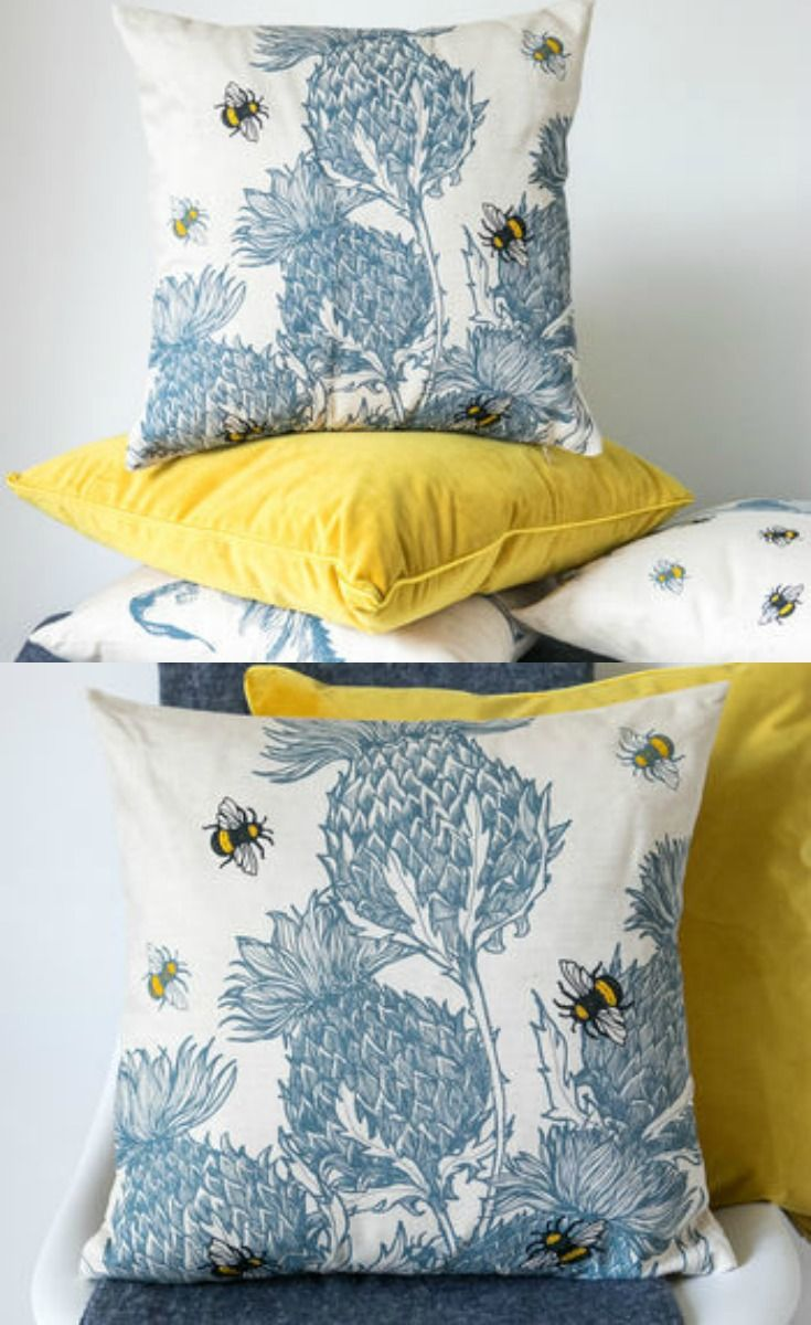 Scottish Thistles Cushion by Gillian Kyle. #ad #bee #bees #cushion #homedecor