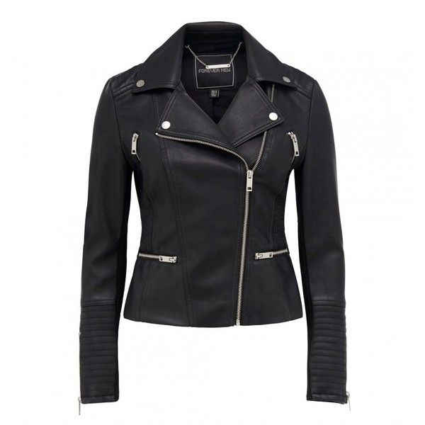 Melissa Faux Leather Biker Jacket (130 AUD) ❤ liked on Polyvore featuring outerwear, jackets, moto jacket, motorcycle jacket, faux-leather moto jackets, fake leather moto jacket and biker jackets