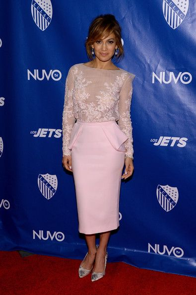 Jennifer Lopez wears a pale-pink Zuhair Murad peplum skirt and floral-embroidered top at the LULAC/NUVOtv Unity Luncheon.