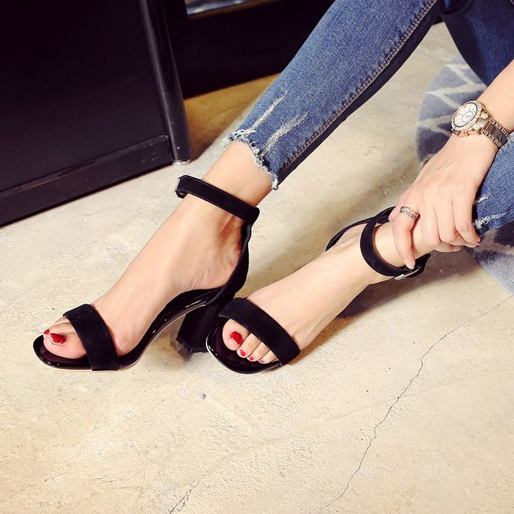 High Quality Summer Fashion Women Sandals Open Toe Ankle Strap Suede Leather…