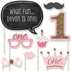 Fun to be One - 1st Birthday Girl - 20 Piece Photo Booth Props Kit | BigDotOfHappiness.com